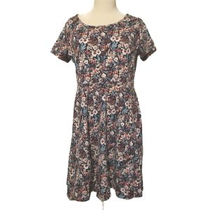F21  Floral Dress,Stretchy Below Knee Length, 1X